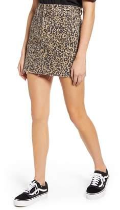 Madewell Literal Leopard Rigid Denim A-Line Miniskirt