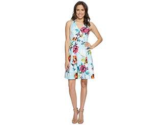 Adrianna Papell Marlowe Posy Printed Jacquard Fit and Flare Sundress Women's Dress