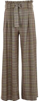 River Island Girls brown check paperbag wide leg trousers