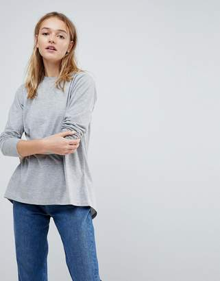 Asos Design DESIGN split back top with long sleeves in grey