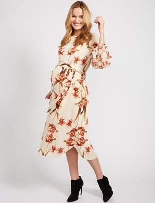 BCBGMAXAZRIA Floral Tie Detail Maternity Dress