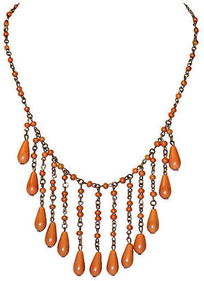One Kings Lane Vintage 1920s Coral Celluloid Drop Bib Necklace
