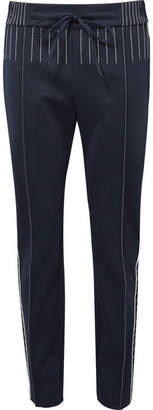 Valentino Embroidered Ponte Straight-leg Pants - Navy