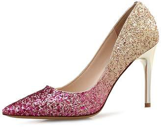 RAINSTAR Women's Classic Dress Pointy Toe Pumps Stiletto High Heels Shine Shoes 6.5