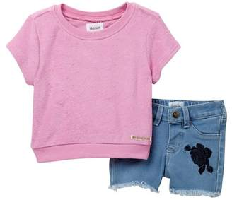 Hudson Terry Cloth Pullover Top & Shorts Set (Baby Girls)