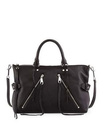 Rebecca Minkoff Large Moto Leather Satchel Bag, Black/Silver $395 thestylecure.com