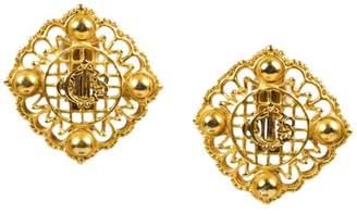 Christian Dior Gold Tone Metal Script Logo Oversize Square Clip On Earrings