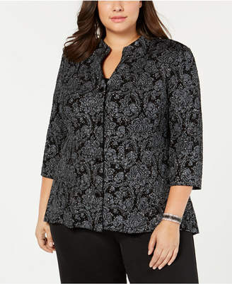Alex Evenings Plus Size Printed Jacket