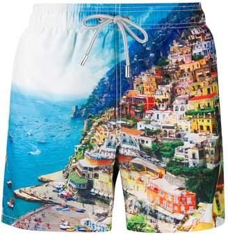 ocean print swim shorts