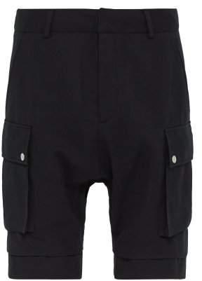 Balmain Dropped Crotch Cotton Blend Shorts - Mens - Black