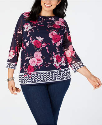 Charter Club Plus Size Border-Print Top