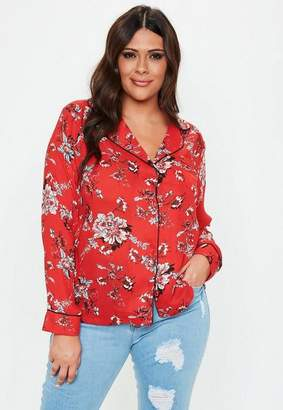 Missguided Size Red Floral Print Pyjama Shirt