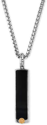 Effy Men's Onyx (33-1/2 x 7-1/2mm) Pendant Necklace in Sterling Silver and 18k Gold