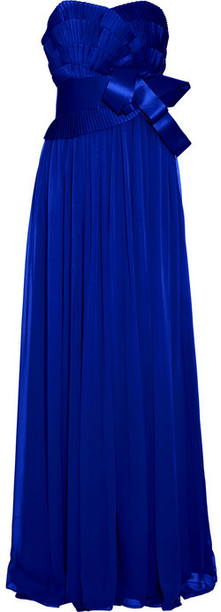 Notte by Marchesa Pleated silk-chiffon gown