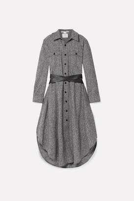 Stella McCartney Faux Textured-leather Trimmed Grain De Poudre Wool Midi Dress - Black