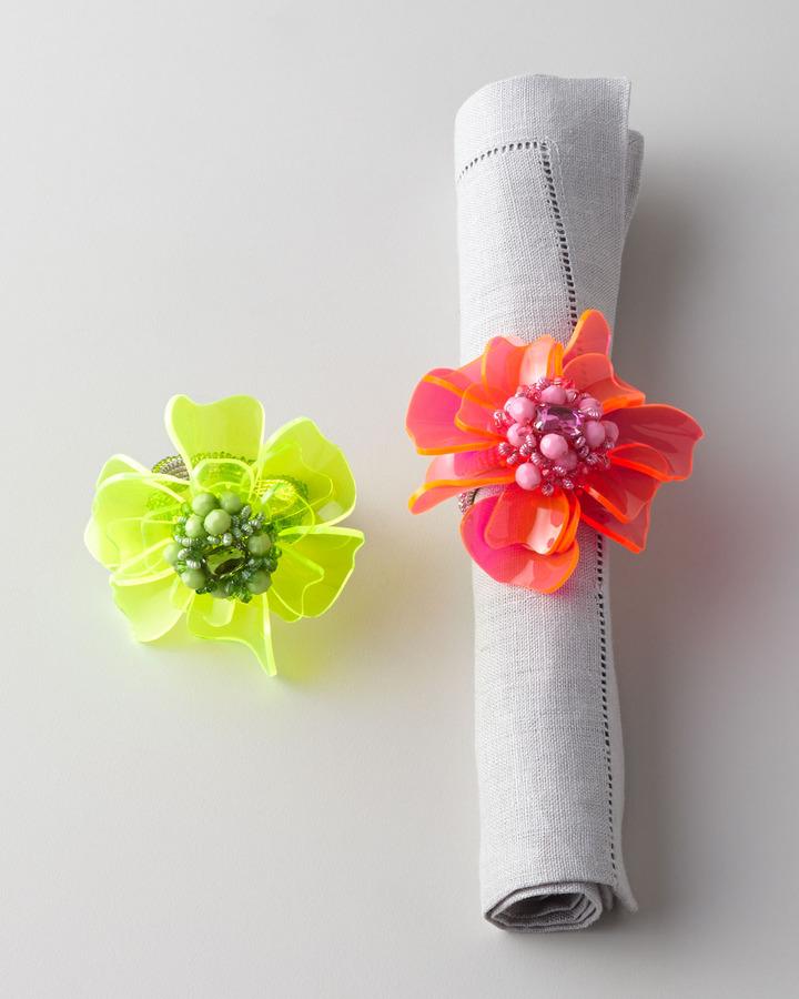 Kim Seybert Four Dahlia Flower Napkin Rings