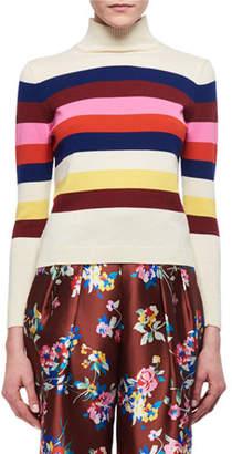 DELPOZO Striped Merino Wool Mock-Neck Sweater