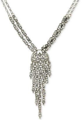 Silver-Tone Multi-Crystal Lariat Necklace