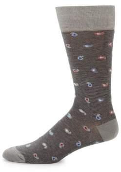 Saks Fifth Avenue Paisley Crew Socks