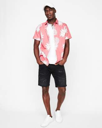 Express Slim Pineapple Print Short Sleeve Cotton Shirt