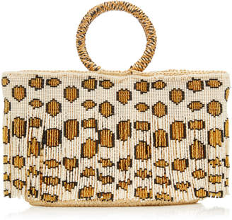 Sensi Studio Mini Bead-Embellished Fringed Straw Tote