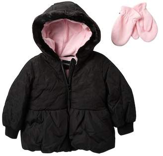 Rothschild Jacket with Faux Fur Trim & Mittens (Toddler Girls)