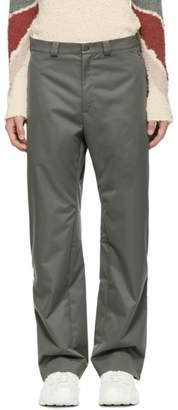 Kiko Kostadinov Grey and Green Contrast Strap Trousers