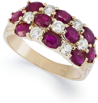 Macy's 14k Gold Ring, Ruby (2-1/2 ct. t.w.) and Diamond (1/2 ct. t.w.) 3 Row Band
