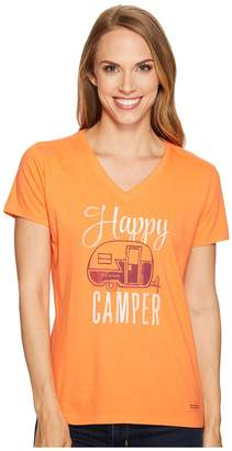 Life is Good Happy Camper Crusher Vee Women's T Shirt
