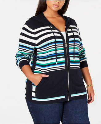 Tommy Hilfiger Plus Size Cotton Striped Hoodie Top