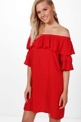 boohoo Amelia Ruffle Off Shoulder Dress $38 thestylecure.com