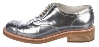Chanel CC Metallic Lace-Up Oxfords