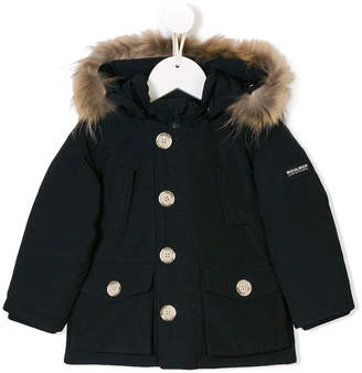 Woolrich Kids raccoon fur hooded jacket