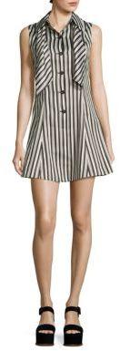 McQ Alexander McQueen Neck Tie Striped Dress $595 thestylecure.com