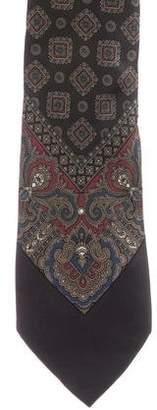 Saint Laurent Geometric Print Silk Tie