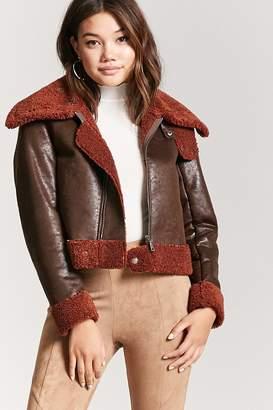 Forever 21 Faux Nubuck Leather Pilot Jacket