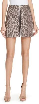 Nicholas Leopard Print Denim Miniskirt