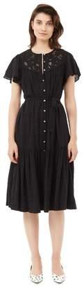 Rebecca Taylor La Vie Textured Slub Dress With Lace