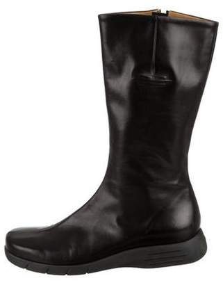 Sergio Rossi Leather Round-Toe Boots