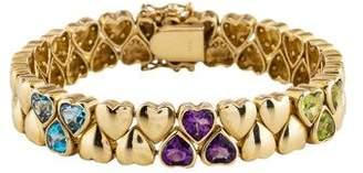 14K Topaz, Amethyst & Peridot Heart Bracelet