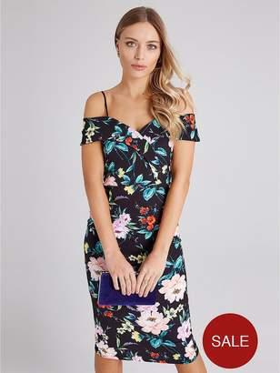 7bc23a3ab312 Girls On Film Floral Strappy Midi Bodycon Dress - Black