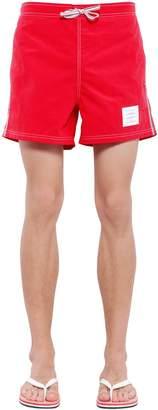 Thom Browne Nylon Swim Shorts W/ Stripes