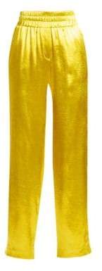 Cinq à Sept Women's Kylie Satin Track Pants - Lemon Yellow - Size XXS