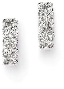Bloomingdale's Diamond Milgrain Huggie Earrings in 14K White Gold, 0.20 ct. t.w. - 100% Exclusive