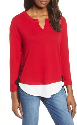 Wit & Wisdom Lace-Up Layered Look Top