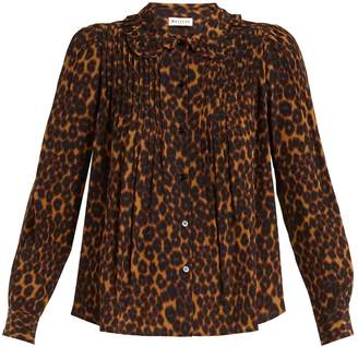 Masscob Leopard-print ruffled-collar blouse