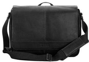 Kenneth Cole Reaction Black Leather Messenger Bag