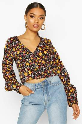boohoo Ditsy Floral Button Blouse