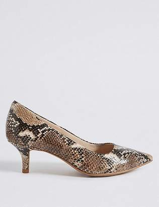 Marks and Spencer Wide Fit Leather Kitten Heel Court Shoes