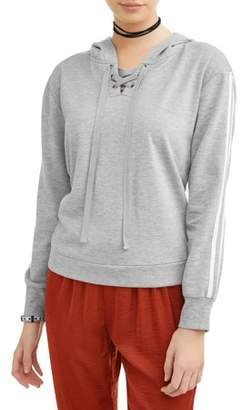 Eye Candy Juniors' Athletic Stripe Long Sleeve Lace-Up Hoodie